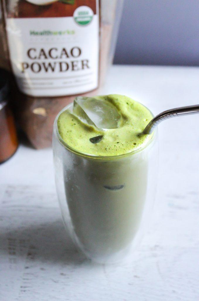 Hashtag Vegan | Iced Cacao Matcha Latte